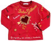 Dolce & Gabbana Heart Patch On Printed Jersey T-Shirt