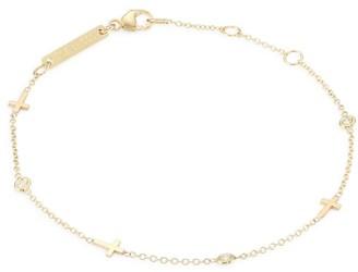 Zoë Chicco Itty Bitty 14K Yellow Gold & Diamond Cross Bracelet
