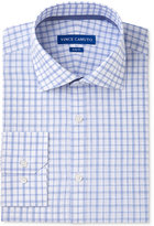 Vince Camuto Men's Slim-Fit Comfort Stretch White/Blue Melange Check Dress Shirt