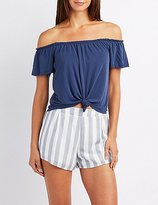 Charlotte Russe Knotted Off-The-Shoulder Top