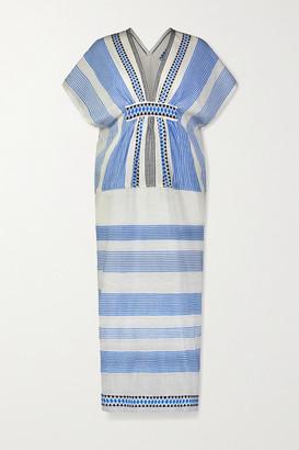 Lemlem Mizan Fringed Jacquard-trimmed Striped Cotton-blend Gauze Midi Dress - White