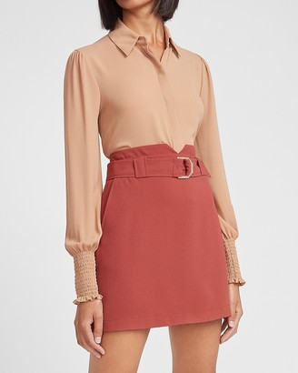 Express High Waisted Belted Notch Front Mini Skirt