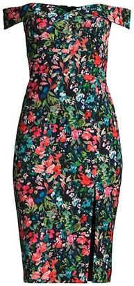Aidan Mattox Floral Off-The-Shoulder Crepe Sheath Dress
