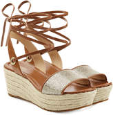 MICHAEL Michael Kors Leather Wedges with Metallic Fabric