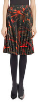 Balenciaga Pleated Abstract-Print Skirt