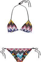 Missoni Mare Reversible Metallic Crochet-knit Halterneck Bikini - Magenta