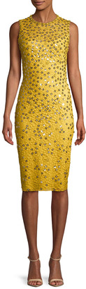 Jenny Packham Metallic Floral Lace Dress