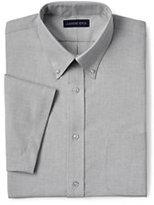 Lands' End Men's Big & Tall Short Sleeve Buttondown Stain Release Oxford Sport Shirt-Charcoal