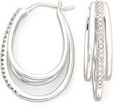 JCPenney FINE JEWELRY 1/10 CT. T.W. Sterling Silver Diamond Multi Hoop Earrings