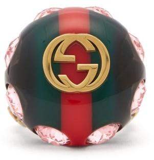 Gucci Crystal-encrusted Gg Logo Ring - Green