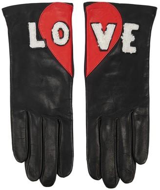 Agnelle Love Appliqued Leather Gloves