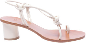 LOQ White Leather Sandals