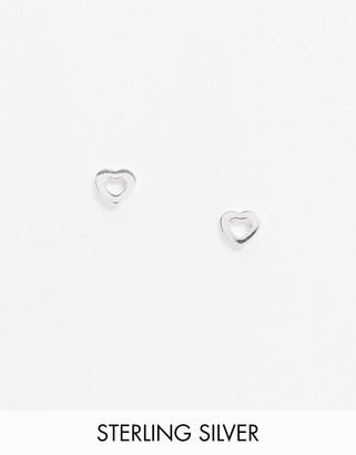ASOS DESIGN sterling silver stud earrings in open heart design