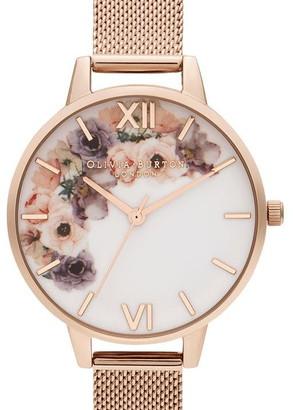 Olivia Burton Watercolour Floral Mesh Strap Watch