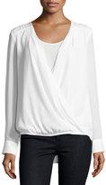 Neiman Marcus Long-Sleeve Wrap Blouse, Eggshell
