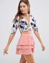 Glamorous Floral Wrap Front Crop Top
