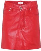 Balenciaga High-rise leather miniskirt