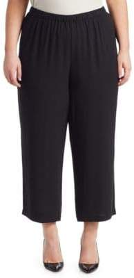 Eileen Fisher Eileen Fisher, Plus Size System Cropped Straight-Leg Silk Georgette Pants