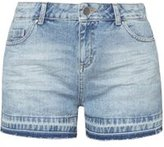 Dorothy Perkins Womens Petite Mid Wash Let Down Hem Shorts- Blue