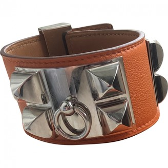 Hermã ̈S HermAs Collier de chien Orange Leather Bracelets