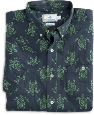 Southern Tide Turtle Performance Short Sleeve Button Down Shirt