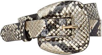 Veronica Beard Elsy Python-Embossed Waist Belt