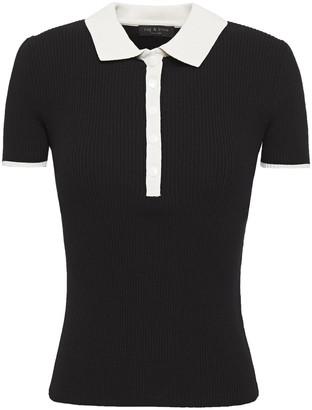 Rag & Bone Libby Ribbed-knit Polo Shirt