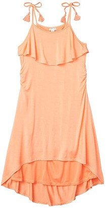 Habitual Corrine Cover-up High-Low Dress (Big Kids) (Coral) Girl's Swimwear