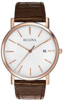Bulova Mens Rose Goldtone and Embossed Leather Watch