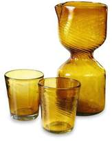 Handblown Glasses and Pitcher Carafe Set for 2, 'Amber Chalice'