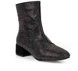 Nature Breeze Women's Rhinestone Block Heel Ankle Boots in Black