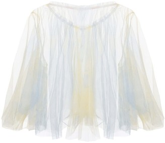 Edward Mongzar Hand Marbled Tulle Raw Edge Top - Yellow & Blue