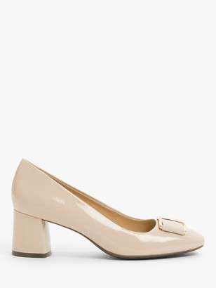 John Lewis & Partners Aisling Patent Leather Block Heel Court Shoes, Nude