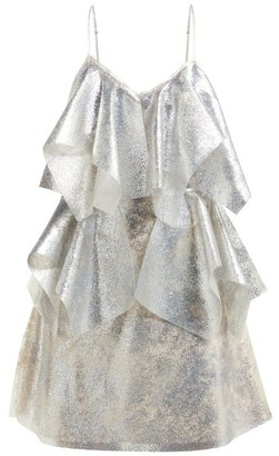 Germanier - Lady Gaga Glitter, Silicone And Satin Mini Dress - Silver