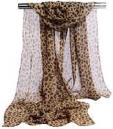 GERINLY Chiffon Scarves Animal Print Leopard Neck Wrap Sheer Scarf