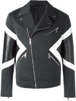 Neil Barrett panelled biker jacket - men - Cotton/Polyamide/Polyester/Lamb Fur - M