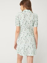 Very Button Front Mini Tea Dress - Green Floral