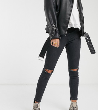 Topshop Maternity Joni overbump skinny jeans with rips in washed black