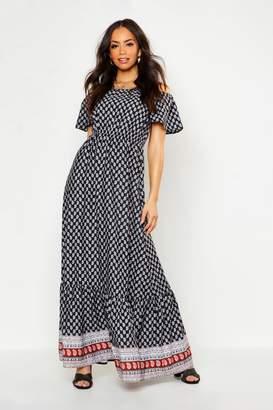 boohoo Off The Shoulder Boarder Print Maxi Dress