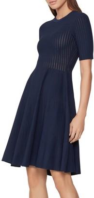 Herve Leger Opaque Stripe Fit-&-Flare Dress