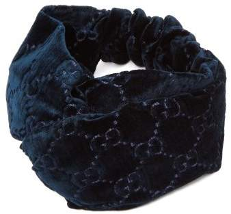 Gucci Gg Devore Velvet Headband - Womens - Blue