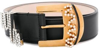 Versace Crystal-Embellished Buckle Belt