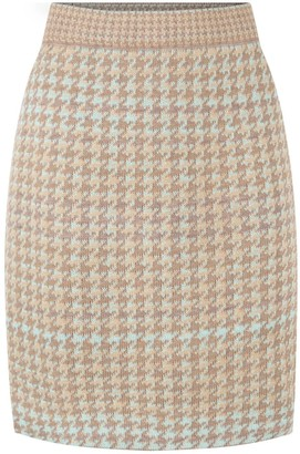 Studio Myr Knee Length Pencil Skirt In Pieds-De-Poule Pattern, Tweed-Fair.