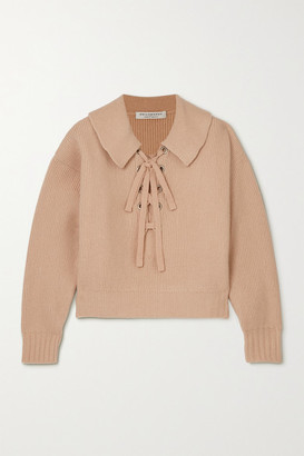 Philosophy di Lorenzo Serafini Lace-up Ribbed Wool Sweater - Beige