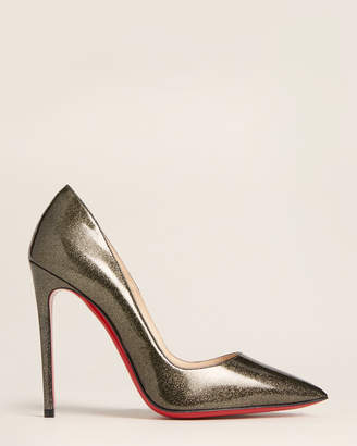 Christian Louboutin Gunmetal So Kate 120 Shimmer Patent Pumps