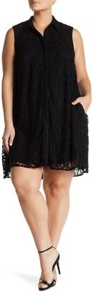 Sharagano Sleeveless Lace A-Line Dress (Plus Size)