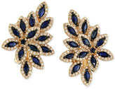 Effy Royalé Bleu Sapphire (2-1/2 ct. t.w.) and Diamond (1 ct. t.w.) Flower-Inspired Earrings in 14k Gold