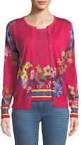 Etro Button-Front Floral-Print Silk-Cashmere Sweater Set