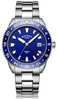 Rotary Watches Rotary Mens Stainless Steel Blue Gmt Henley