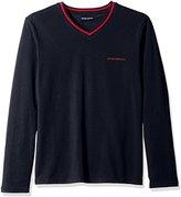 Emporio Armani Men's Striped Logo Long Sleeve V-Neck Shirt